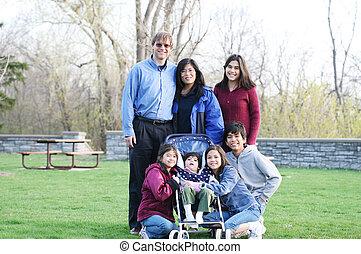 Interracial family of seven