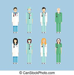 profession doctors 1 - Stock set of isolated characters,...