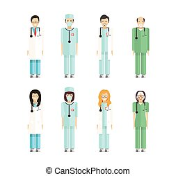 profession doctors 2 - Stock set of isolated characters,...