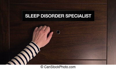Sleep Disorder - Female hand is knocking on Sleep Disorder...