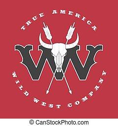 vecteur, concept, logo, sauvage, ouest,
