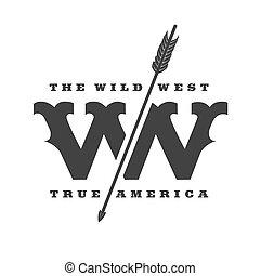 concept, ouest, vecteur, Gabarit, sauvage,  logo