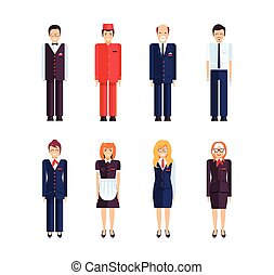 professional hotel staff - Stock set of isolated characters,...