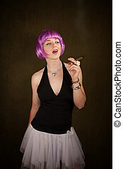 Woman with Purple Hair - Portrait of woman with shiny purple...