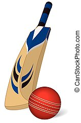 Cricket ball and cricket bat - cricket bat and cricket ball...