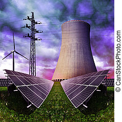 Energy concepts - Solar energy panels with nuclear power...