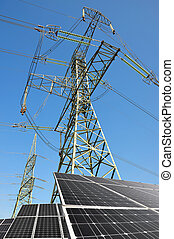 Solar panels with electricity pylon Clean energy