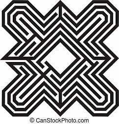 Labyrinth line illustration - Labyrinth black and white line...