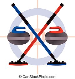 curling brooms crossed with rocks - red and blue brooms...