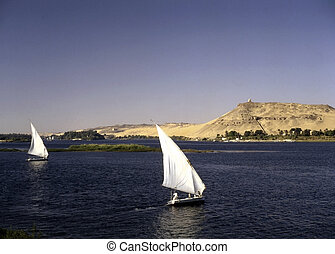 Feluccas on river Nile in Asuan