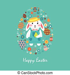 Happy easter 4 - Stock illustration Happy Easter bunny in...