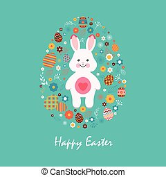 Happy easter 13 - Stock illustration Happy Easter white...