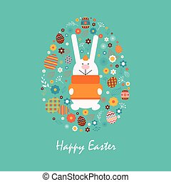 Happy easter 14 - Stock illustration Happy Easter bunny in...