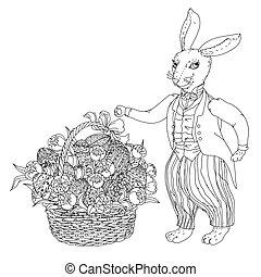 Easter Bunny pfor a coloring book - Easter Bunny with Easter...