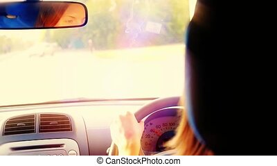 Woman driving car in slowmotion Vintage filter 1920x1080 -...