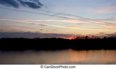 beautiful sky river sunset silhouette nature landscape -...