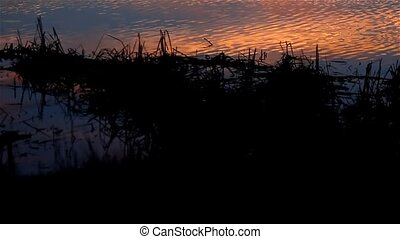 river beautiful sky sunset silhouette nature landscape -...