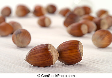 hazelnut on a white table
