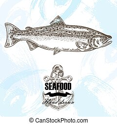 Vintage seafood sketch background. Hand drawn salmon fish...