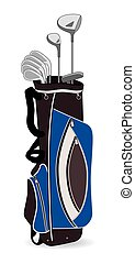 Golf bag with clubs - Golf bag in blue and grey on white...