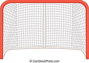 Hockey goalie net - hockey goalie net, front view on white...