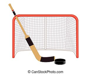 Hockey goalie stick puck net - hockey goalie stick and puck...