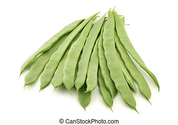fresh string beans on a white background