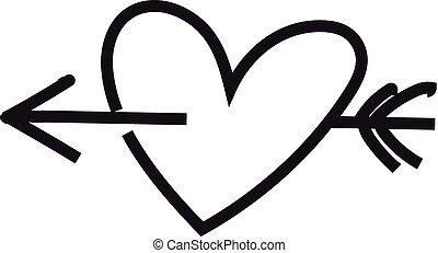 Minimalist heart with arrow - Heart. Sketch heart. Heart and...