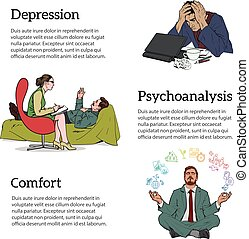 Concept psychotherapy of three illustrations - Help...