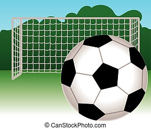 Soccer ball and net - soccer ball with net behind in...
