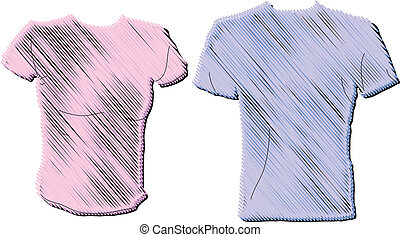 Men and Women's t-shirt design in pink and blue