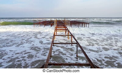 Rusty Old Pier. - Old Rusty Pier Remnants on the Edge of a...