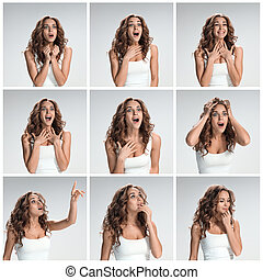 The set of female portraites with shocked facial expression...