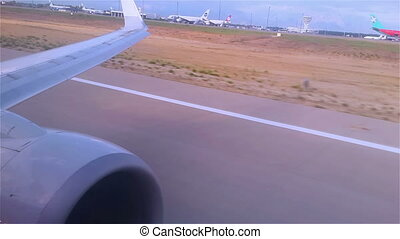 Big jet plane taking off runway - View from the window, big...