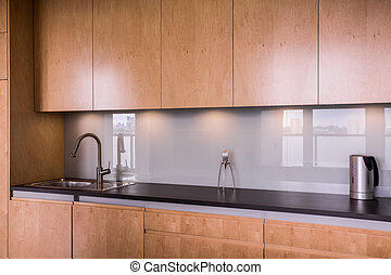 Minimalist modern kitchen - Horizontal picture of modern...