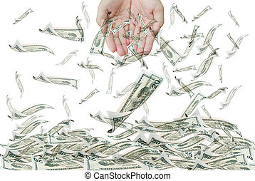 20 flying dollar bills and hand, isolated on white