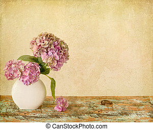 Flowers still life on wooden board - Painterly textured...