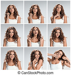 Set of young woman and 39;s portraits with different happy...