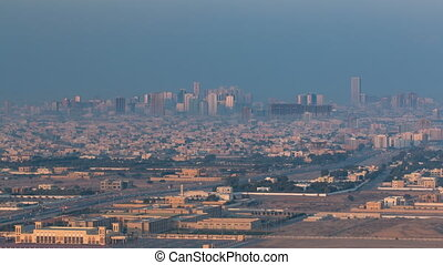 Cityscape of Ajman from rooftop early morning timelapse. Ajman is the capital of the emirate of Ajman in the United Arab Emirates.