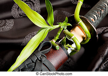 Sword and bamboo - Bamboo sprout growing around a japanese...