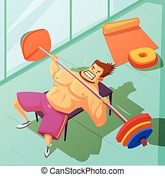 Weightlifting Cartoon Illustration - Weightlifting in a gym...
