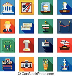Museum Flat Squared Icon Set - Museum flat squared icon set...