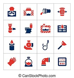 Set color icons of sewerage isolated on white Vector...