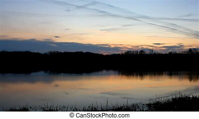 beautiful sky sunset silhouette river nature landscape -...