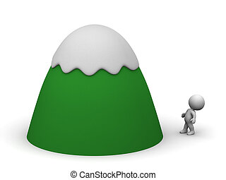 Small 3D Character Looking Up at Large Cartoonish Mountain