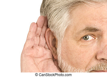 Middle-aged Man Hand Cupped to Ear - A horizontal shot of a...