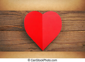 Happy Valentine and 39;s Day - Red heart with sheet of paper...