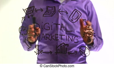 "man businessman writes on glass board ""Digital marketing""..."