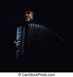 Accordion Player Portrait - Portrait of an accordion player,...