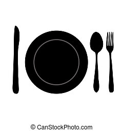 Meal Setting - Silhouette of a meal setting on a white...